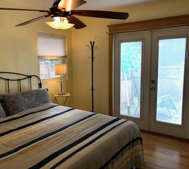 1st bedroom & french door to rear deck