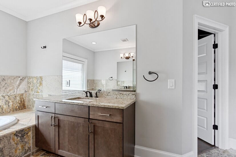 granite tops and high quality soft close cabinetry