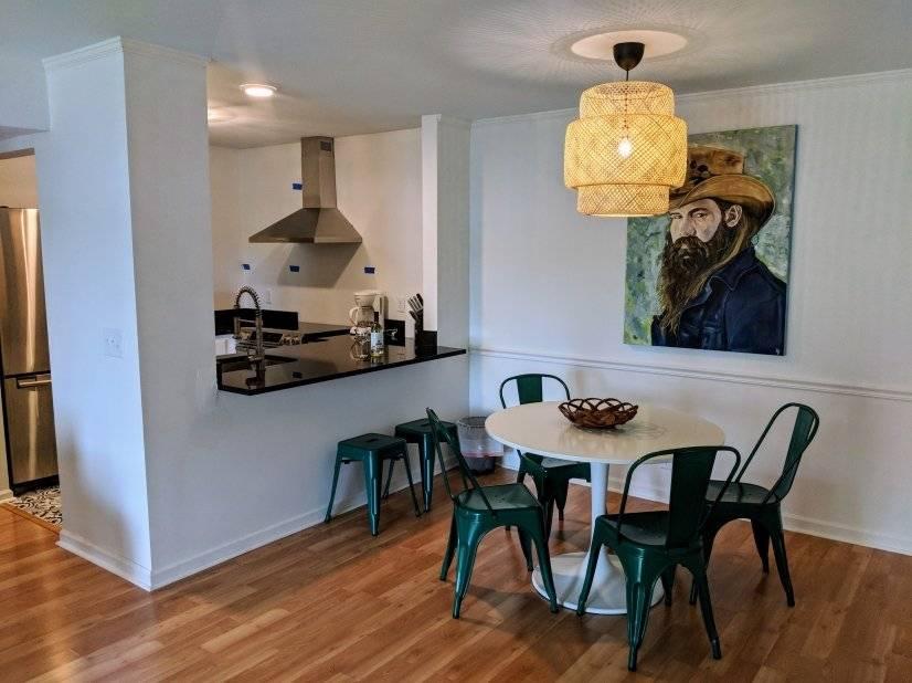 Open floorplan with original art
