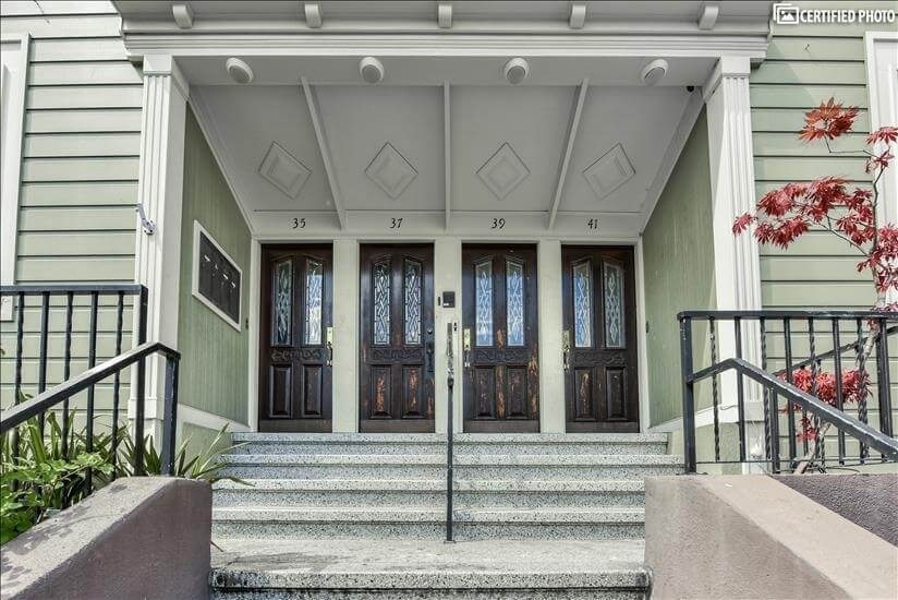 The front doors - private entry for each unit.