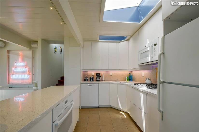 Kitchen has two skylights.