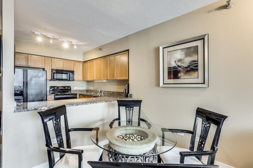 Open kitchen w/ granite counter top