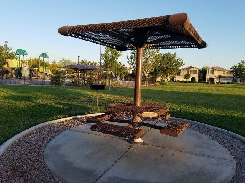 Keep an eye on the kids while you grill at this gazebo
