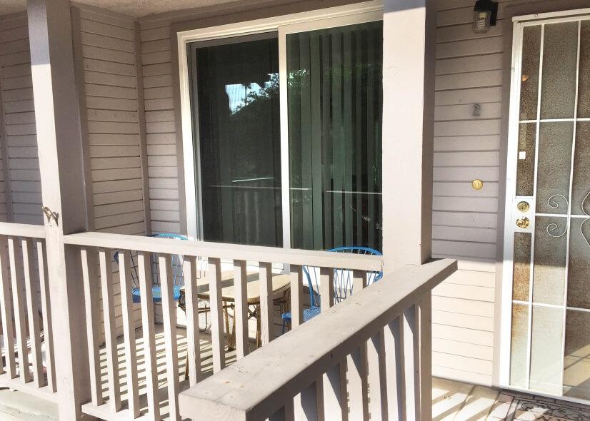 Front door has nice patio area