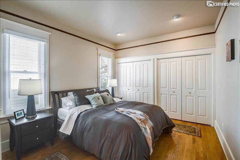 Master Bedroom with queen size Puffy Lux matt