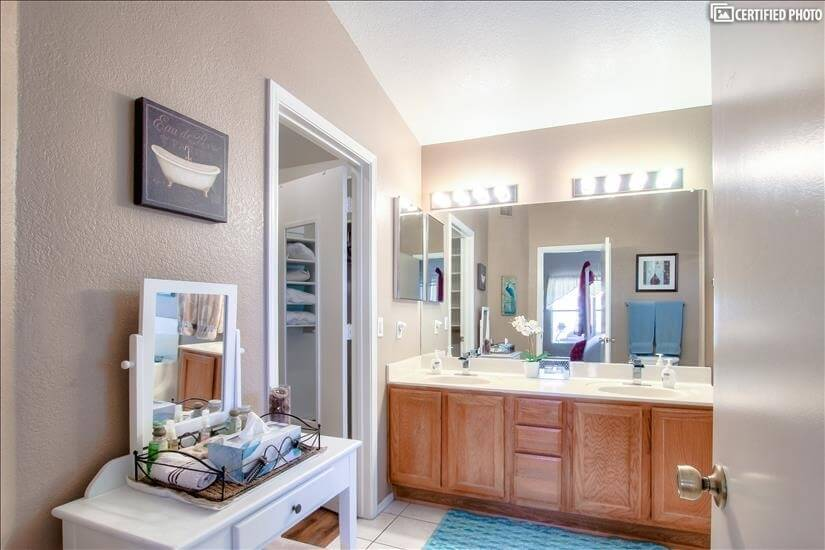 Master bath with shower, large garden tub and
