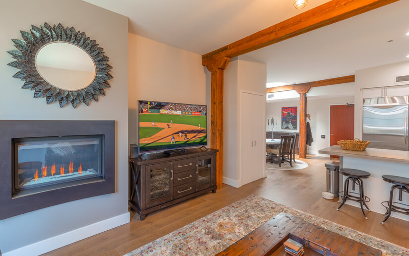 "Fireplace, 65"" TV"