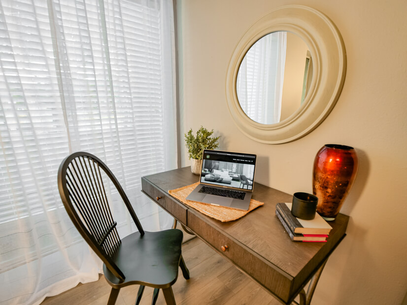 Desk and workstation in kitchen