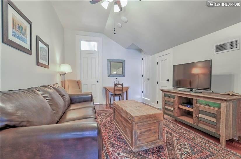 Comfy living area for Bourbon Quarters with fold out sofa