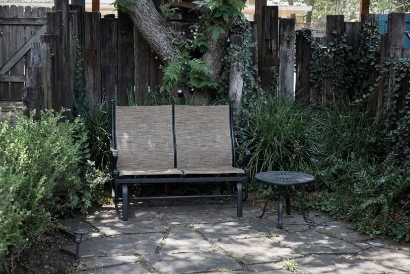 Glider in private backyard
