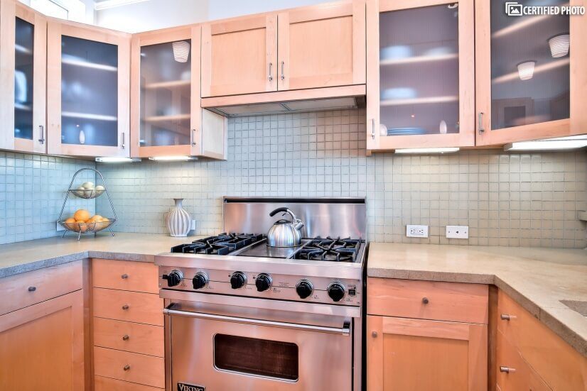 Well-appointed kitchen with Viking stainless appliances