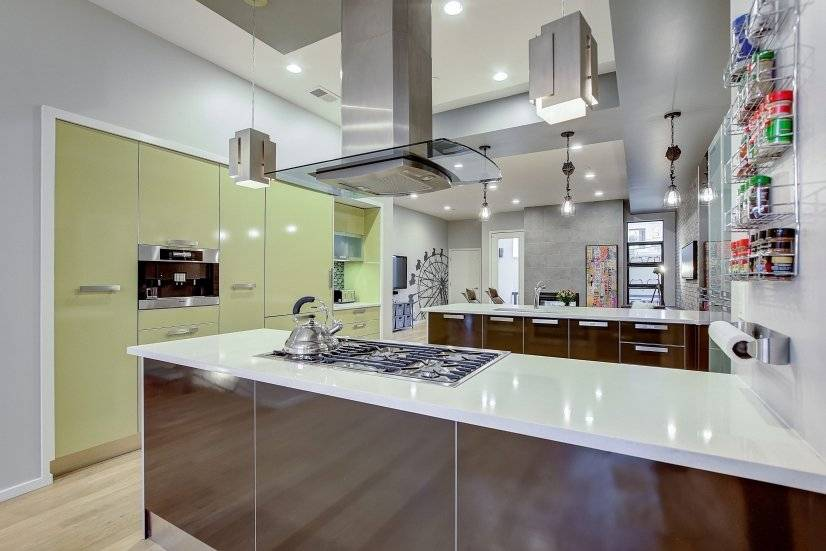 Enjoy the airy 10' ceilings and the European kitchen.
