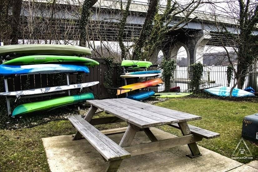 Picnic area and kayak rack