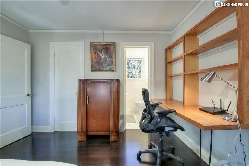 Desk with Google Fiber internet in the bedroo
