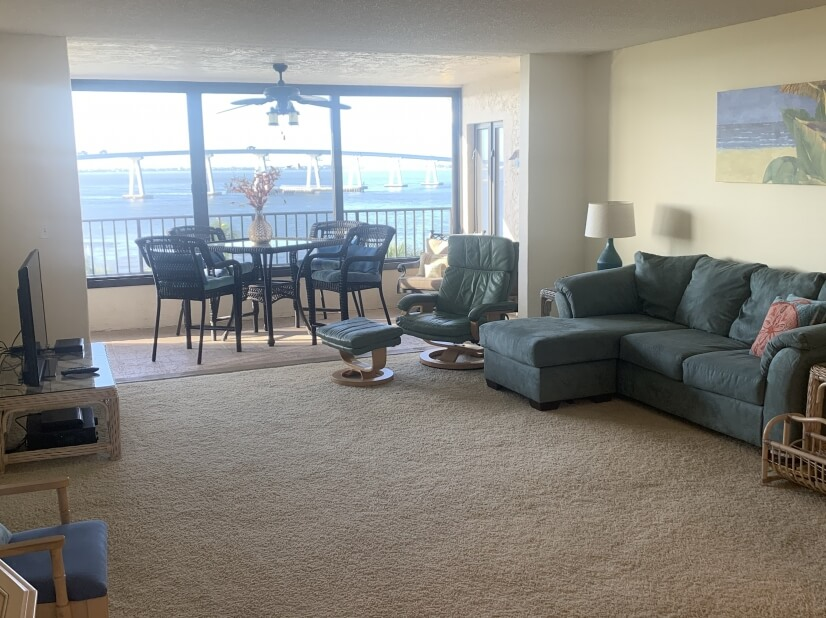 View of large living room area.