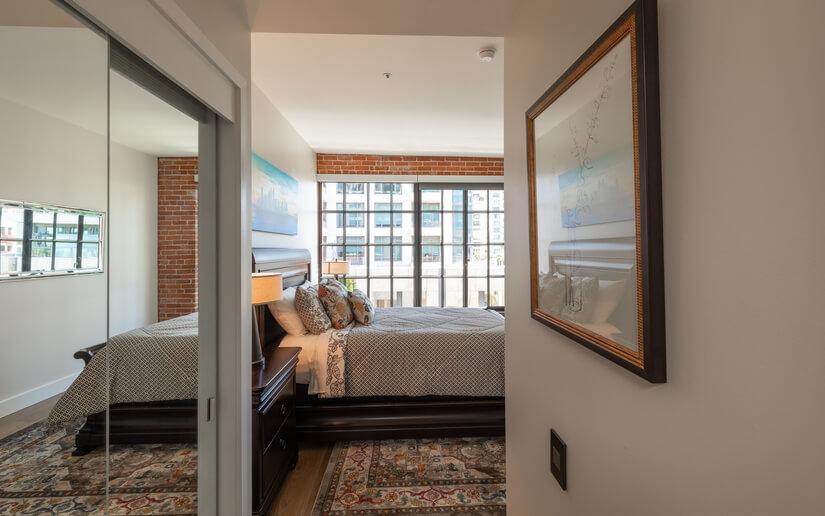 Roomy bedroom with walk-in closet.