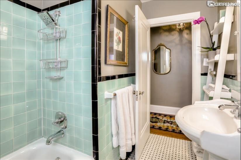 Refurbished Original bath and floor tile.