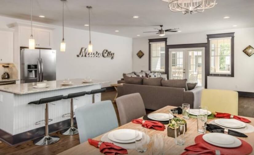 Open dining room, kitchen and living area