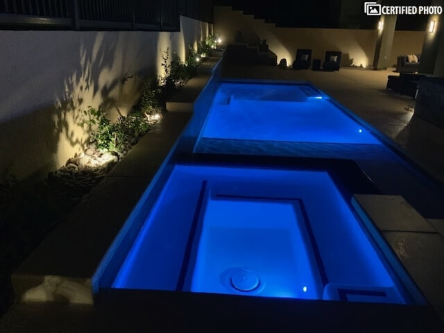 Night lighting in the pool and spa, backyard