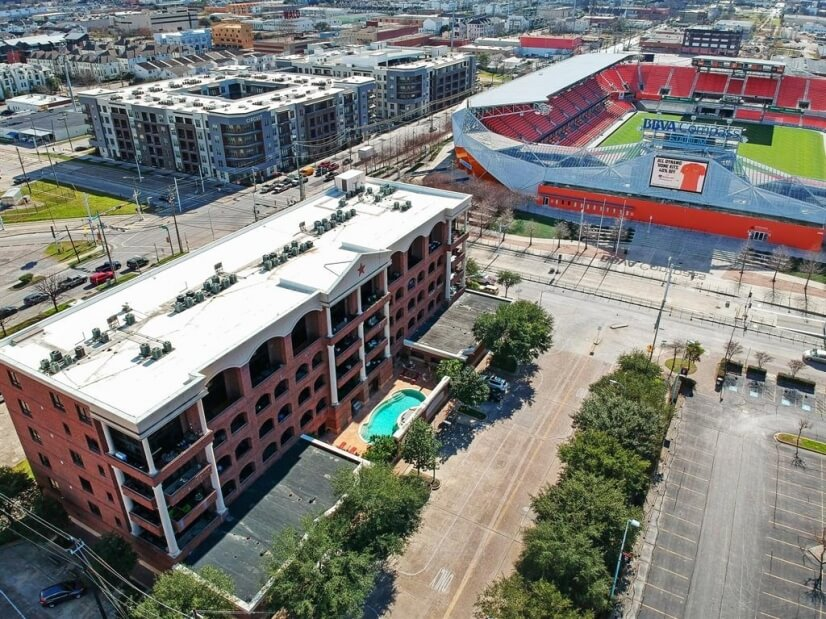 Bird's-eye view of Stanford Lofts, view of pool & BBVA.