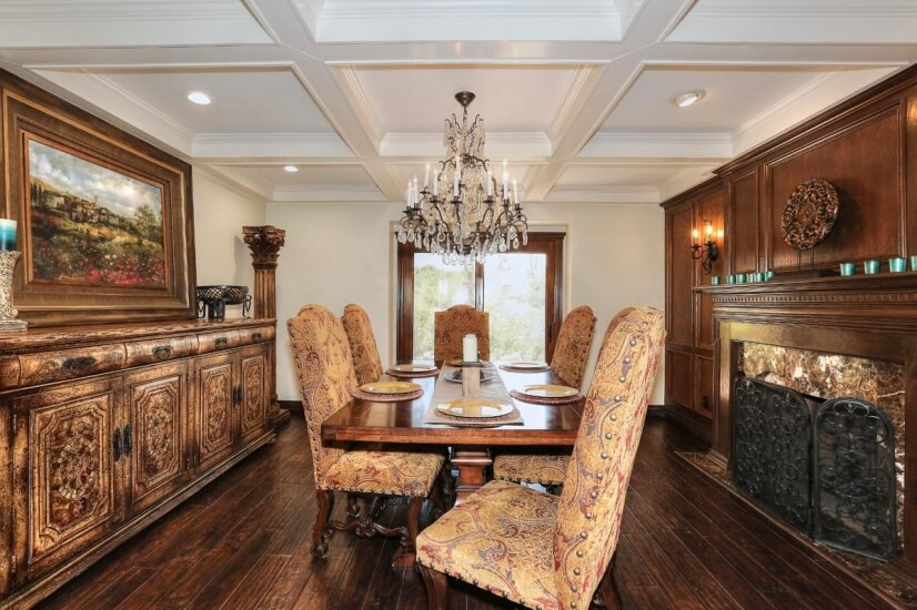 gorgeous dining room w/ fireplace and view of