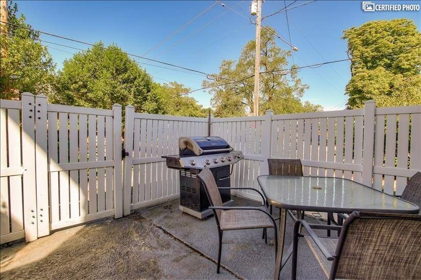 Patio furniture set and gas grill