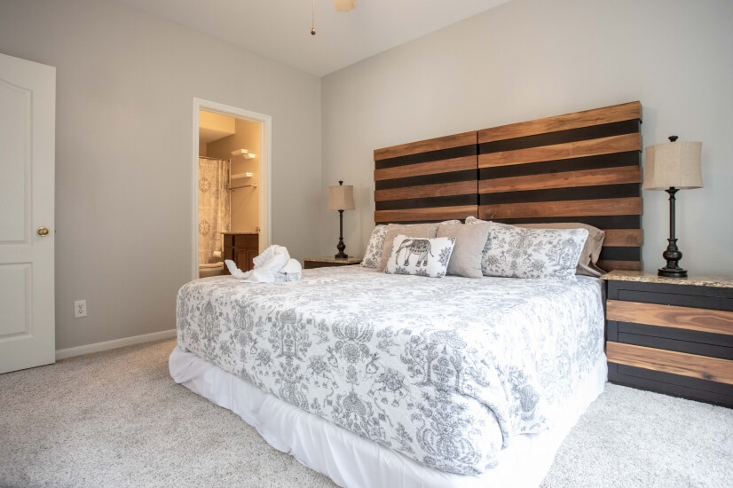 Check out this wonderful King bed with a private bathroom