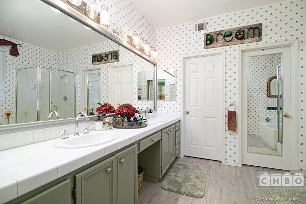 Master Bathroom with double sink vanity.