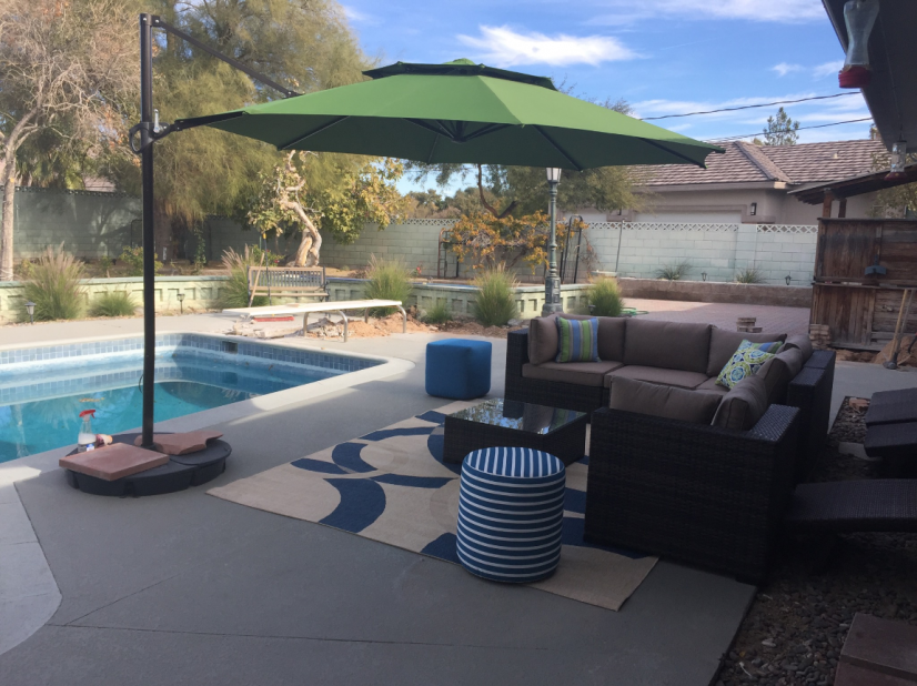 Outdoor furniture and pool