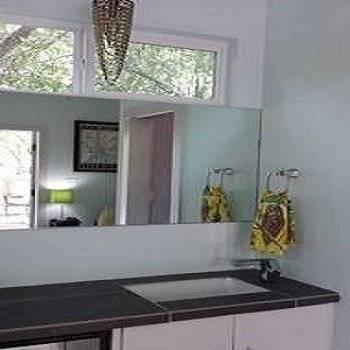 2nd floor Vanity, sink, chandelier, natural light