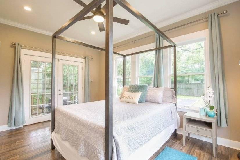 Access backyard through french doors in Master Bedroom
