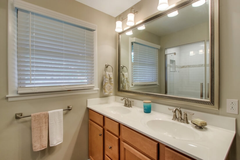 Double vanities in the master bath with great lighting