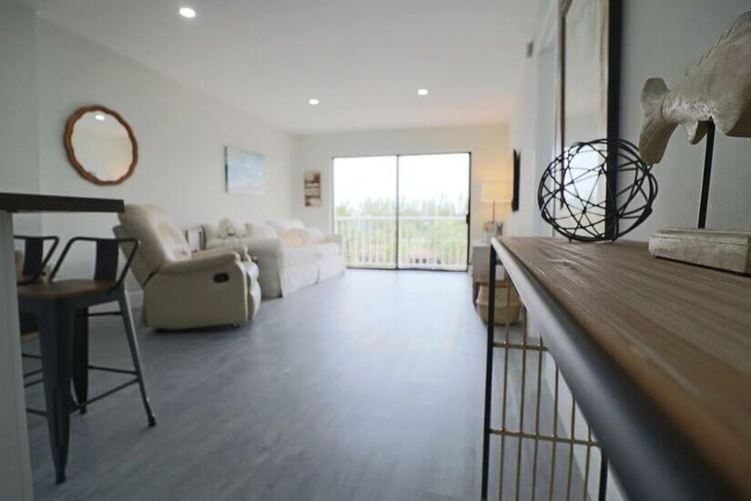 Living room from the bathroom door