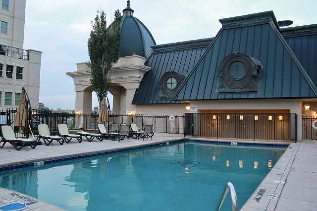 Fifth floor pool with year round hot tub.