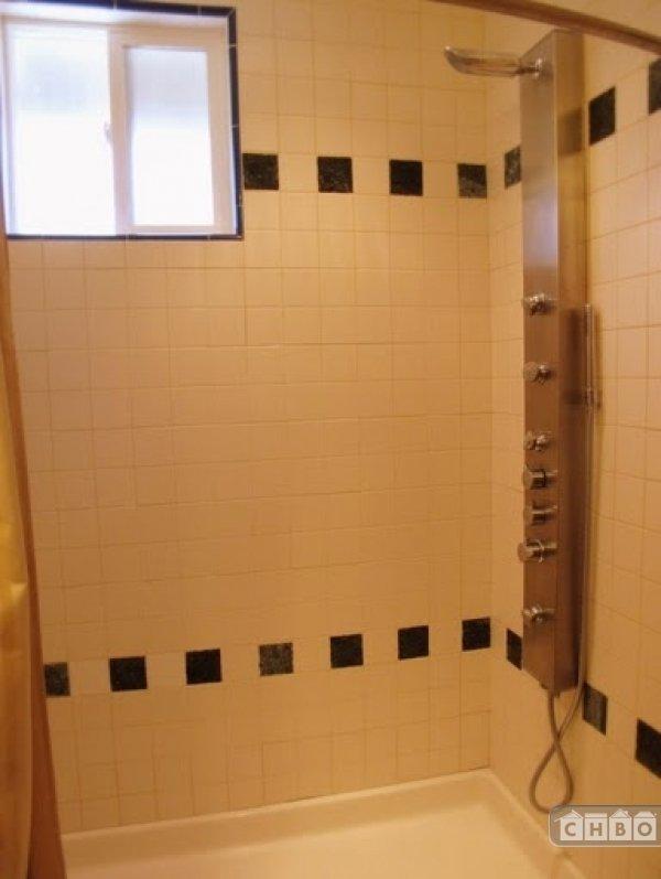Master bath with shower module body spray