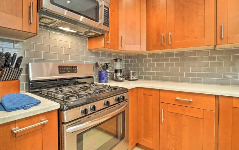 Kitchen with gas stove and oven