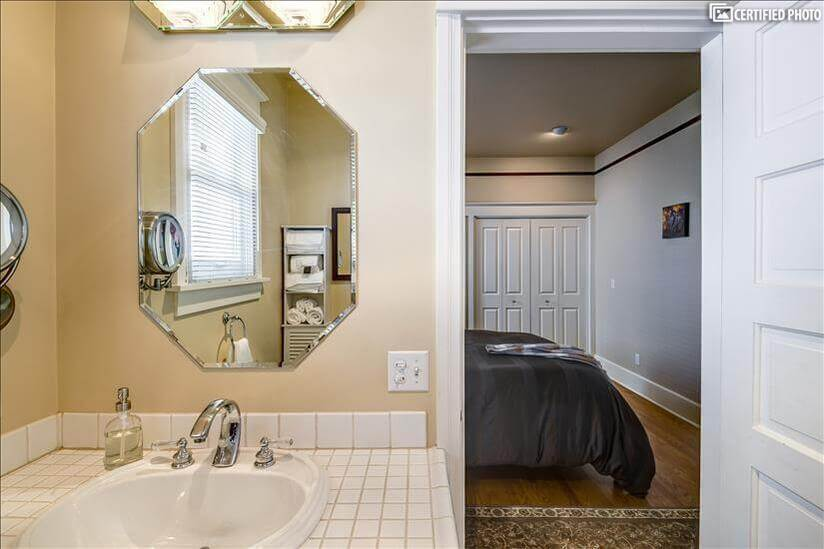 Master bath with hair dryer and adjustable ma