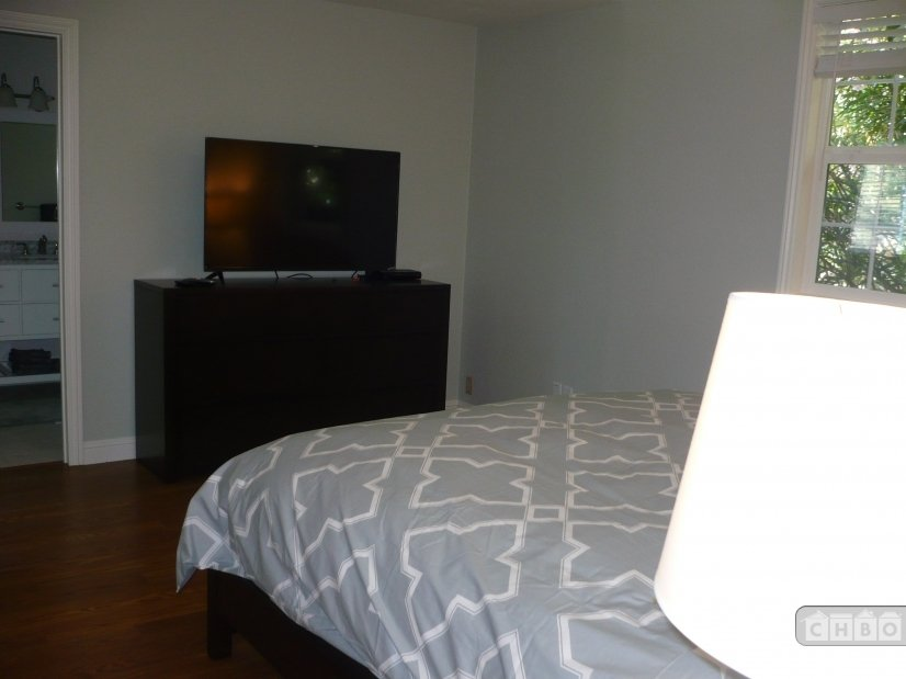 Master bedroom with 50 inch TV