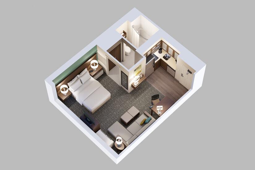 Studio Queen Suite Floor Plan