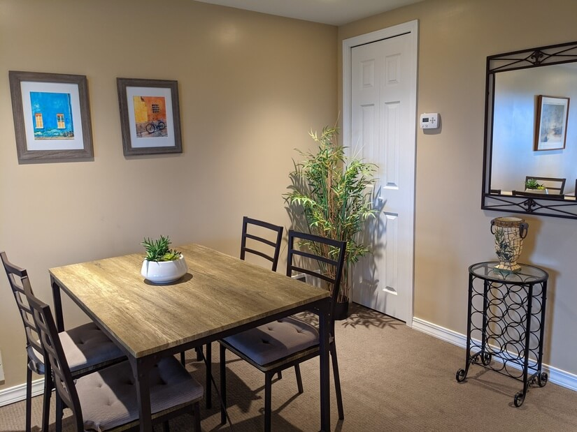 Dining area with storage closet at rear