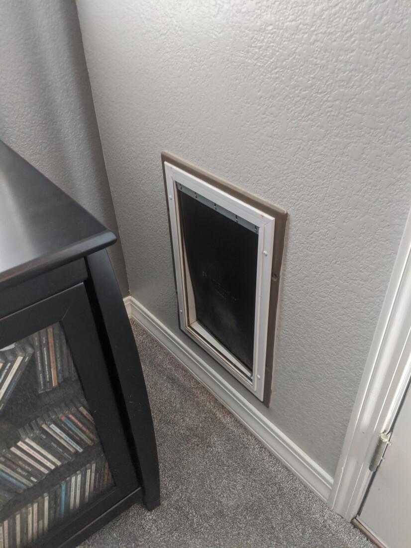 Interior view of pet door