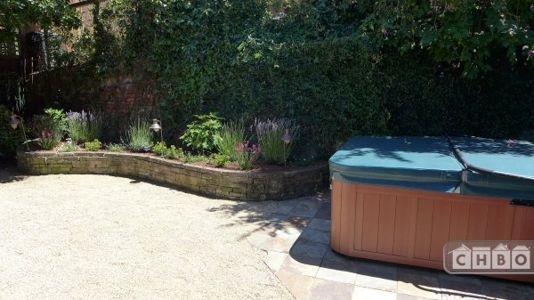 Hot tub in secluded back yard