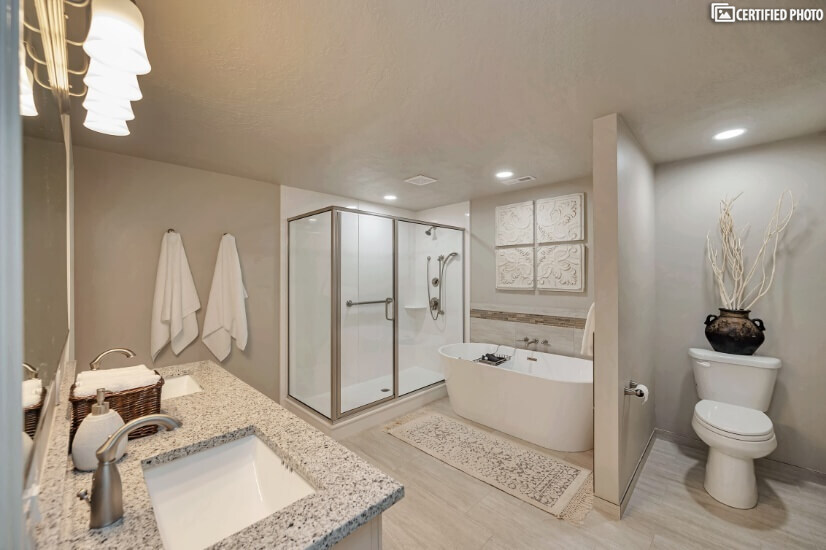 Downstairs Master Bathroom with Shower & Free Standing Tub