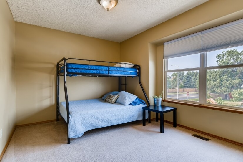 Third upper level bedroom with twin over full