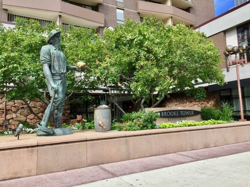Front of Building-Old Miner Statute