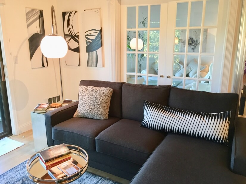 Sofa with French doors into Den
