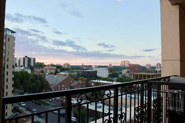 Balcony with view.
