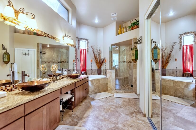 Master bathroom with very large shower room