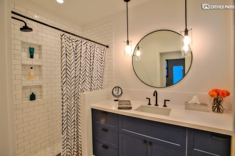 Renovated bath with walk-in shower