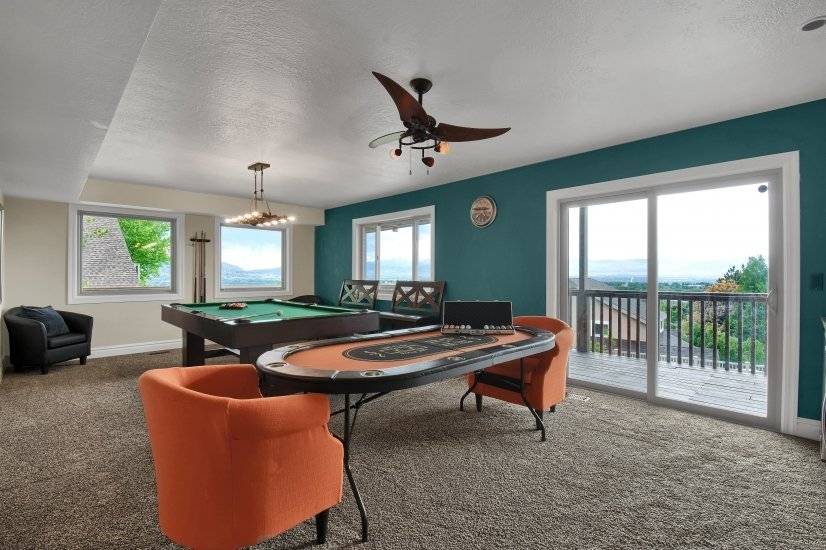 Game Room with Poker Table and Pool Table